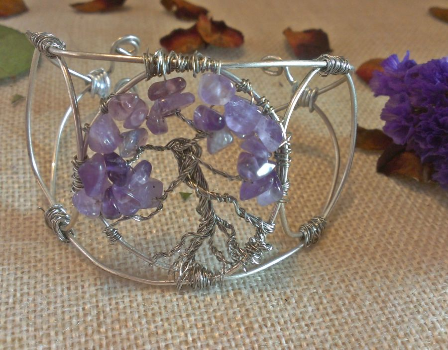 Choice of 2 Gemstone Crystal  Tree of Life Cuffs Amethyst or Smokey Quartz