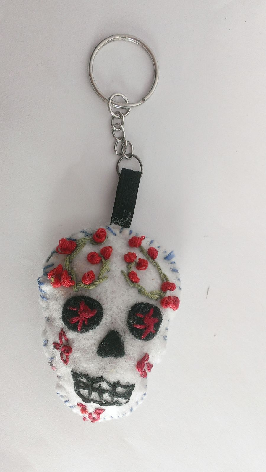 Sugar Skull Embroidered Key Ring