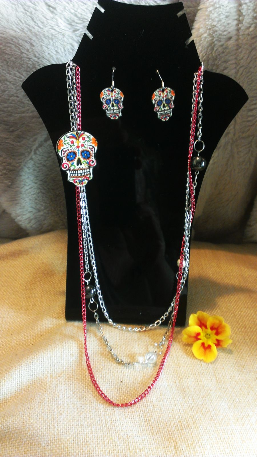 Sugar Skull Day of the Dead with hematite and clear quartz necklace and earring set