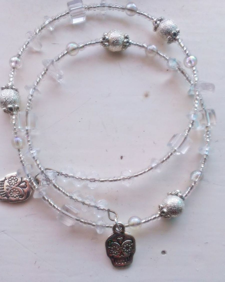 Icey Bracelet silver foil beads, clear quartz  square crystal bead sugar skull