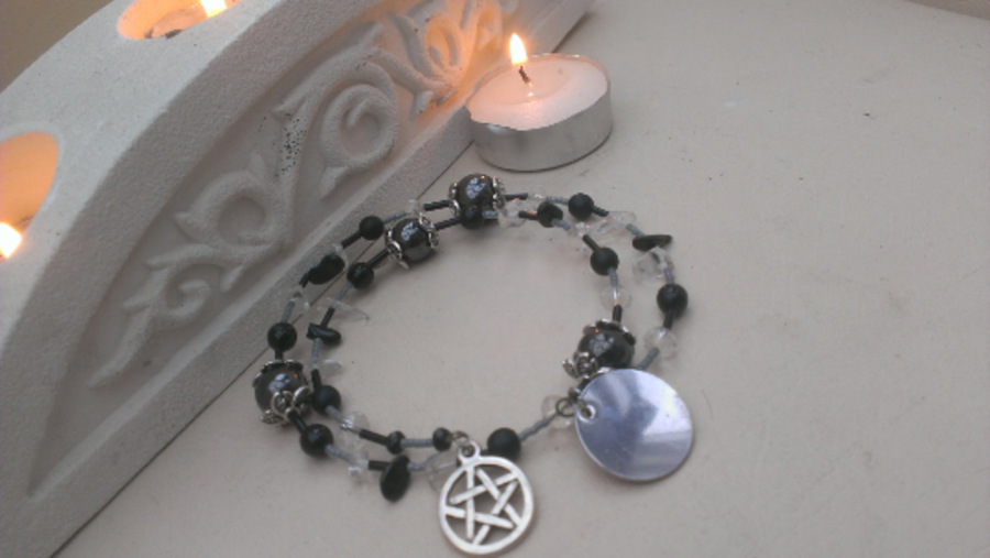 Gemstone Bracelet Hematite,Clear Quartz, Tourmaline, Crystal, Pentagram, Tag