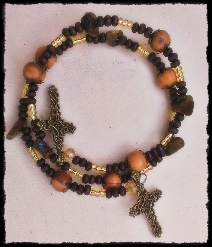 Bronze Cross Gemstone Bracelet Olive Wood Tiger Eye Crystal
