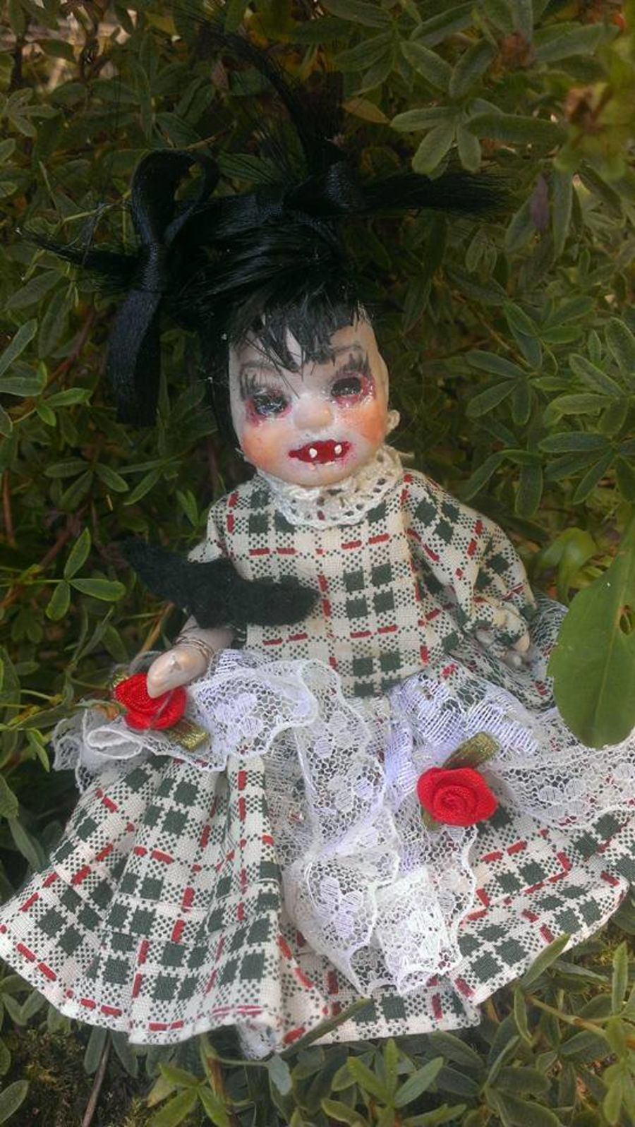 Vampire Baby Porcelain Doll with Bat