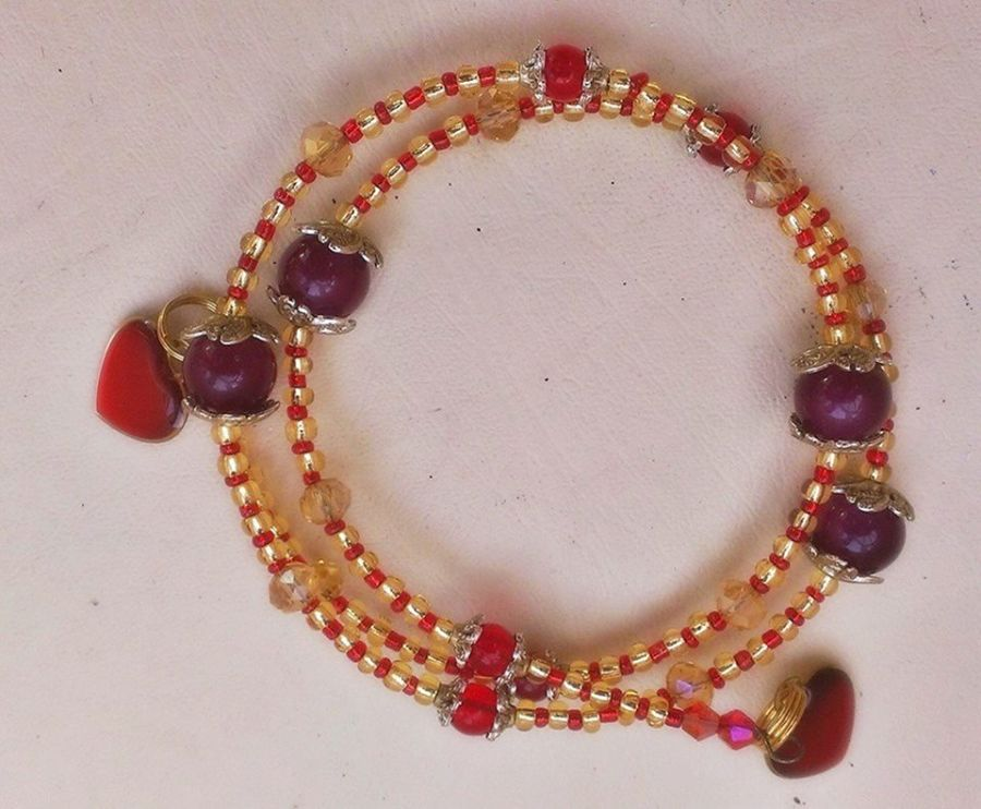 Gold and Red Crystal Beaded Heart Bracelet