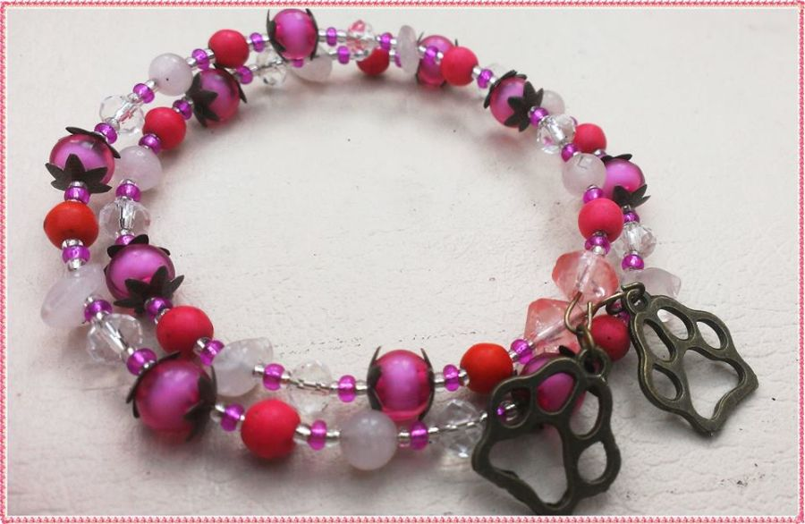 Love Animals Paw Rose Quartz Crystal Pinks Bracelet