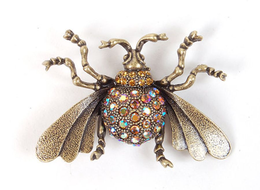 Insect crystal brooch