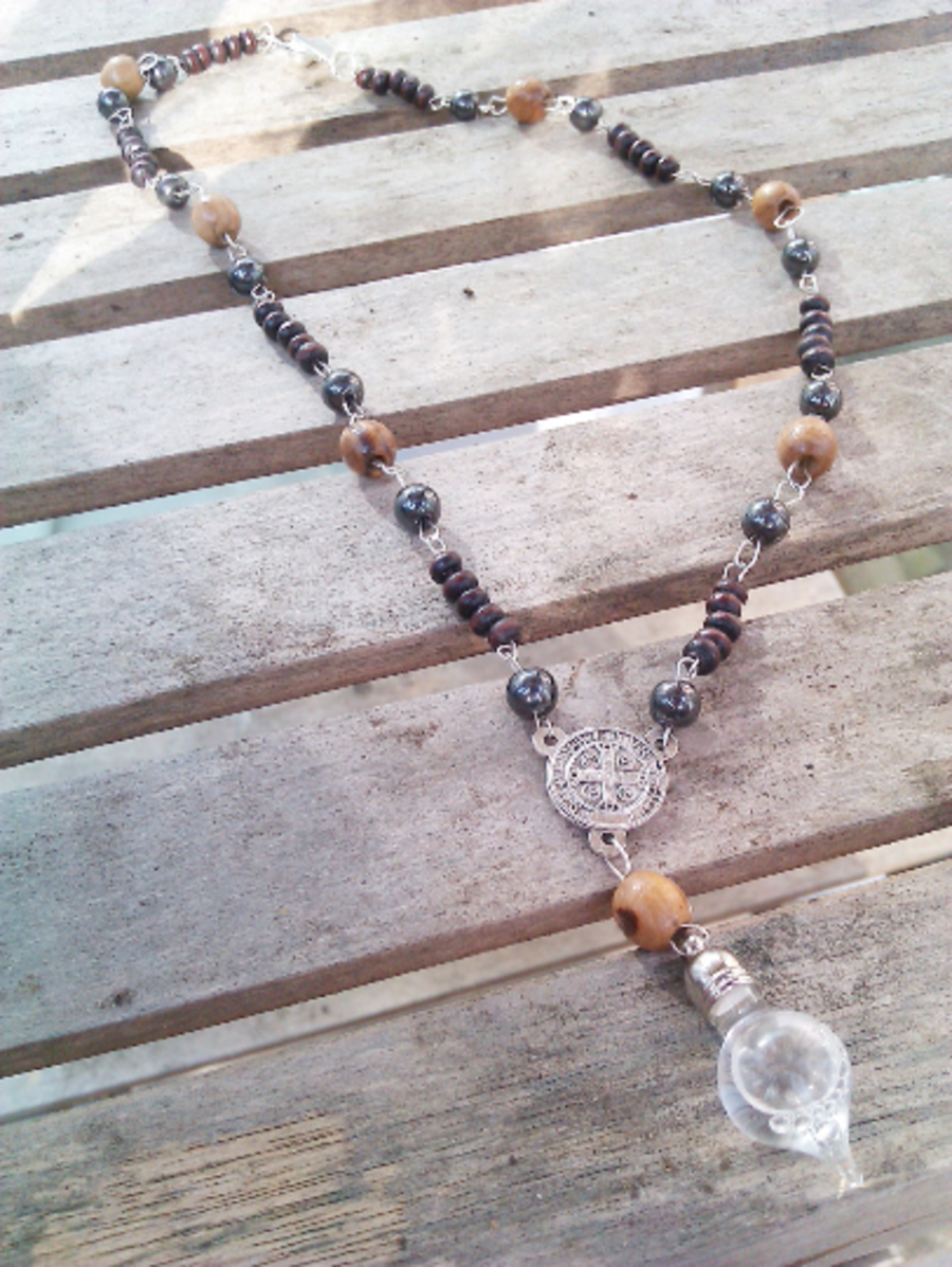 St Benedict Olive Wood Hematite Holy Water Vial Choker Pendant