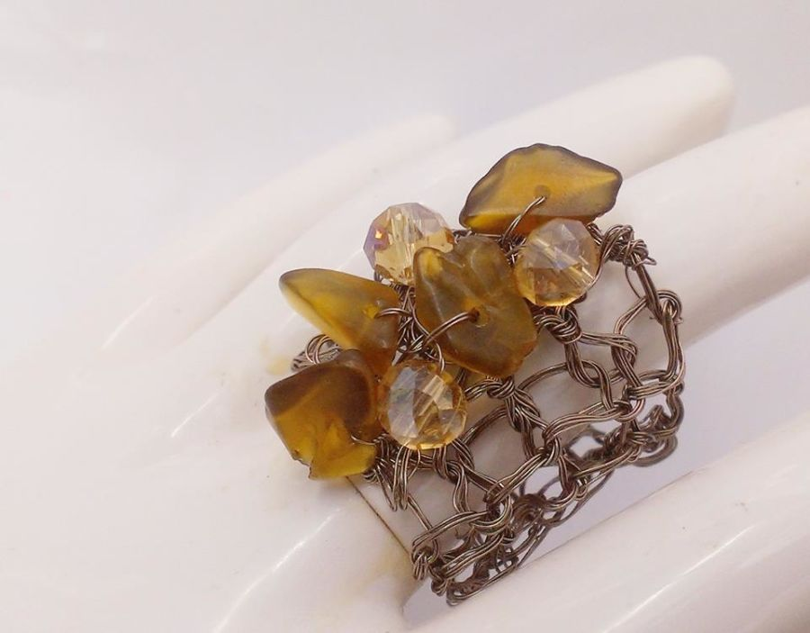 Smokey Quartz and Crystal Ring Size P