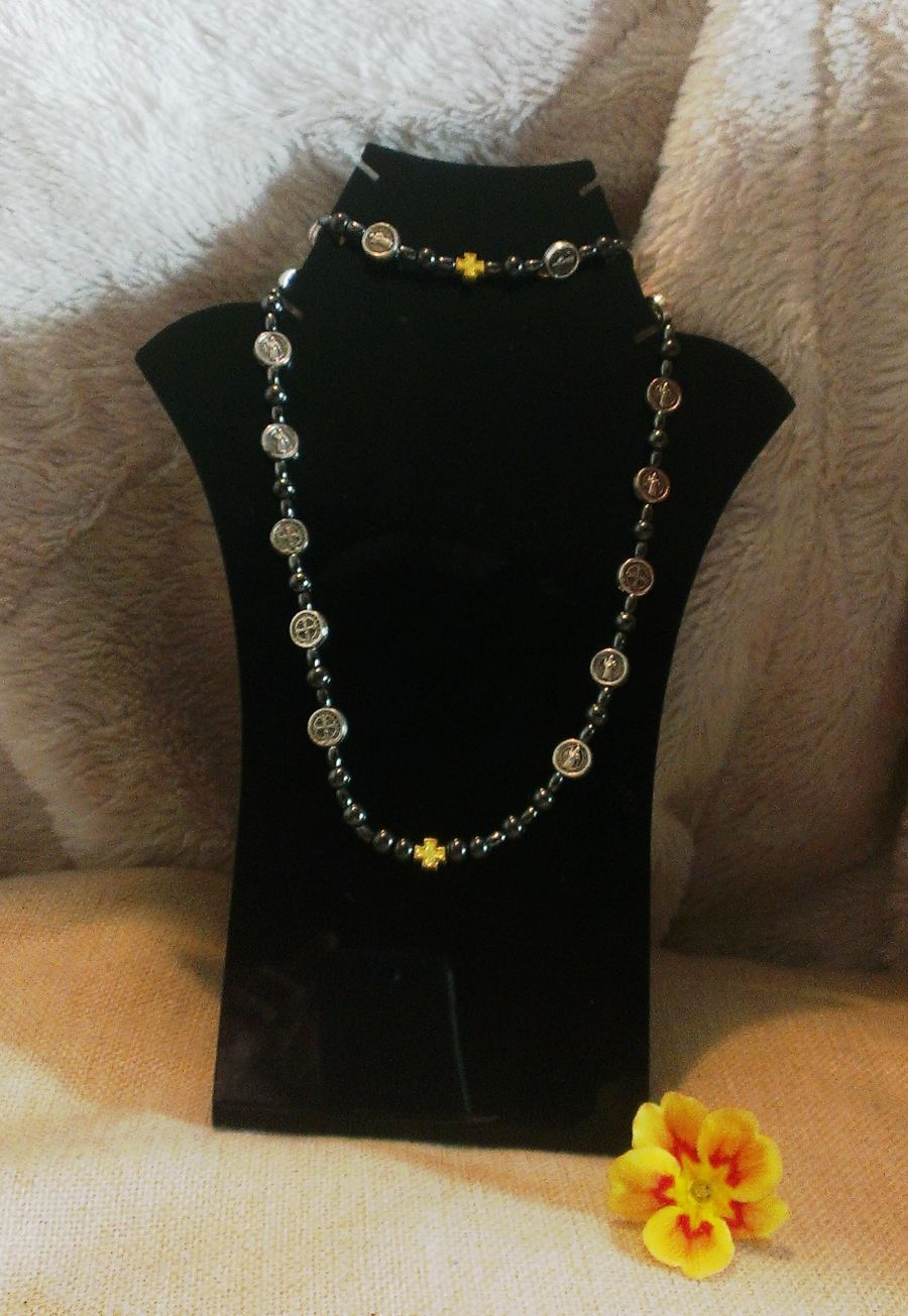 St Benedict Hematite Bracelet and Choker necklace set.