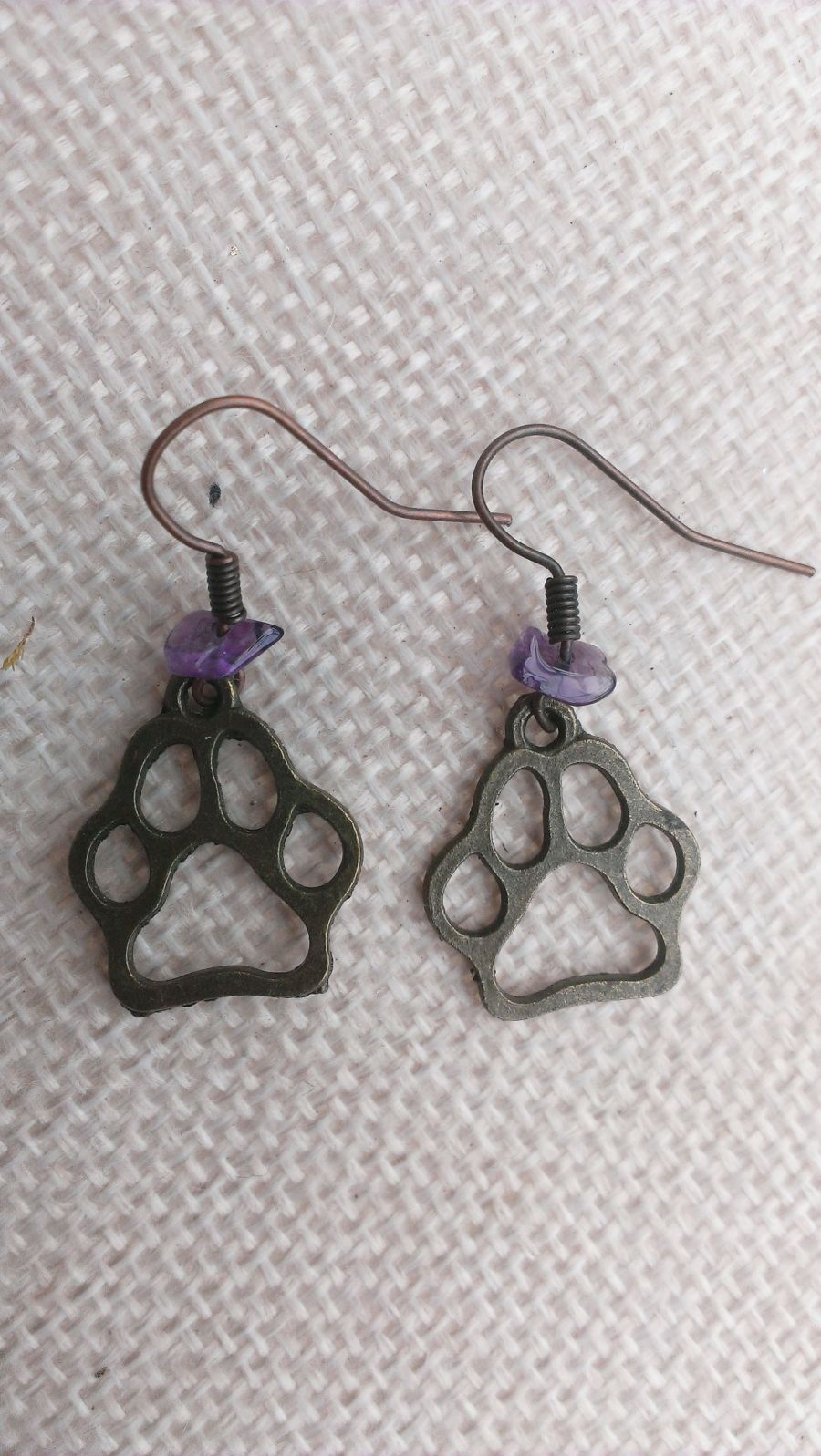 Pet Paw Amethyst Drop Earrings