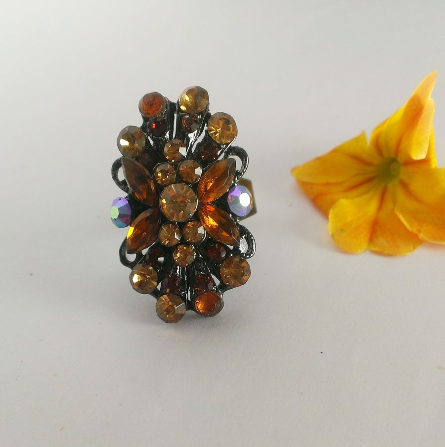 Cocktail Ring Brown Amber Crystals Adjustable