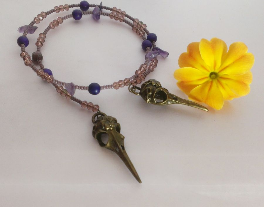Amethyst and Crystal Beaded Bird Skull Bracelet