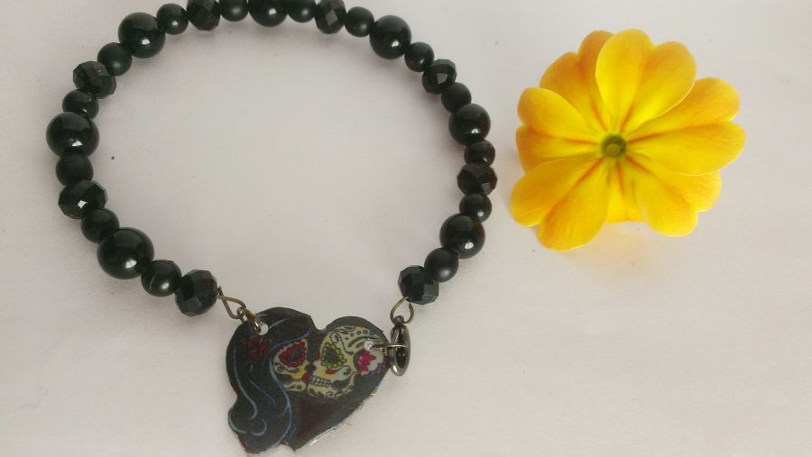 Sugar Skull Couple Crystal Beaded Bracelet