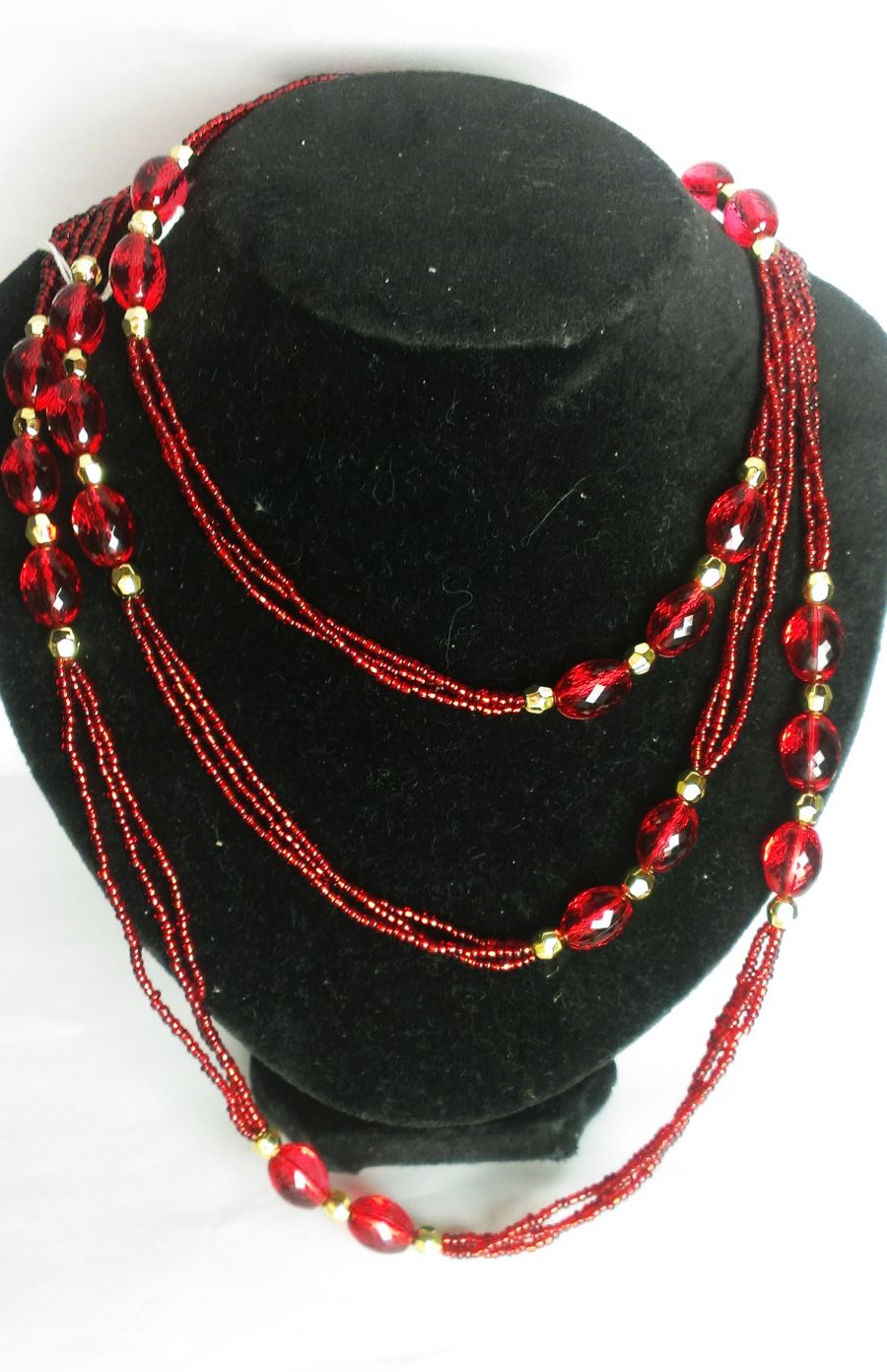 Vibrant Red And Gold Long Necklace