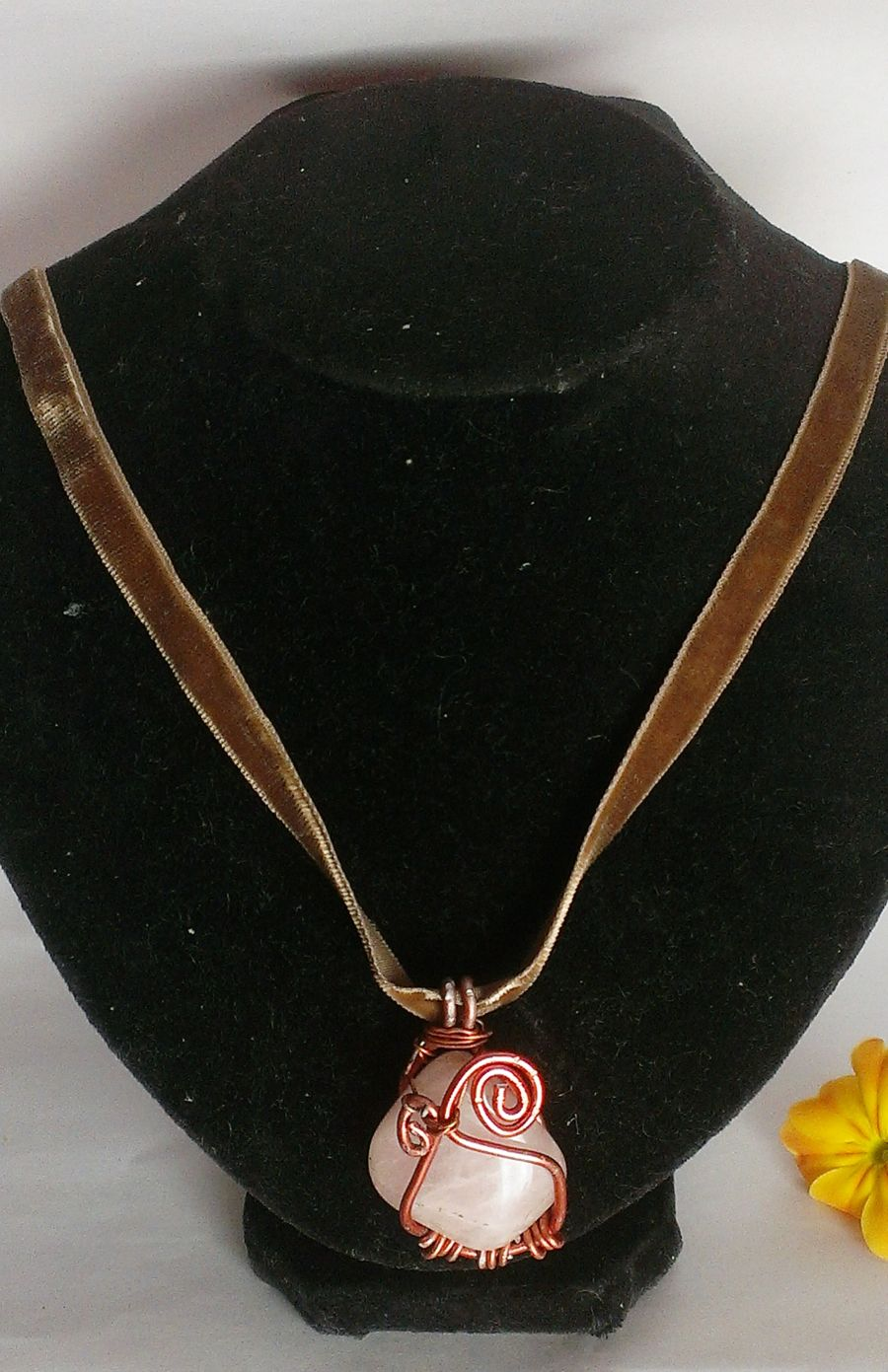 Rose Quartz Wire Wrap Pendant with Velvet Ribbon