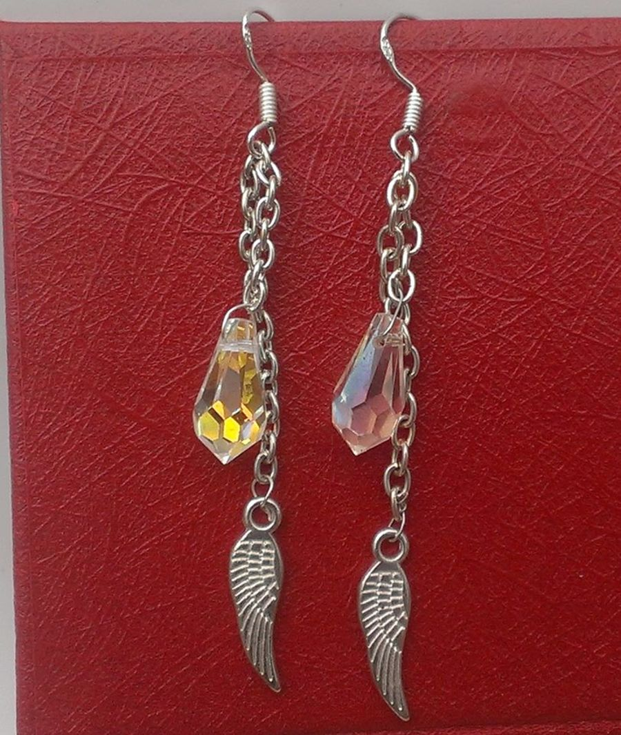 Faceted Glass Crystal Angel Wing Drop Earrings