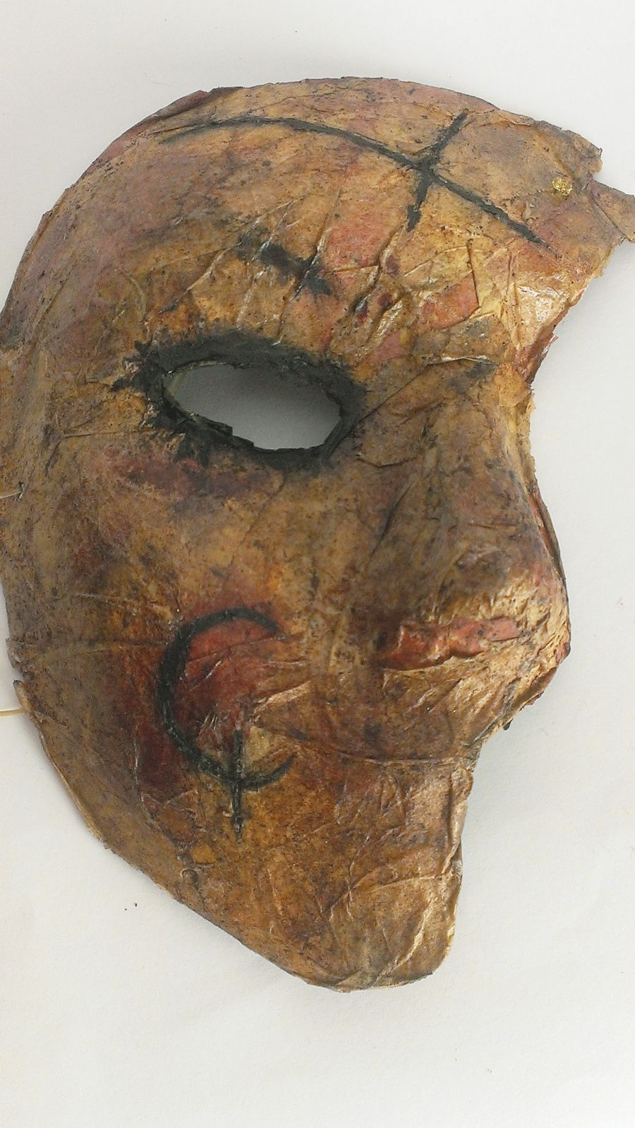 Half Face Burnt Old Skin Horror Mask