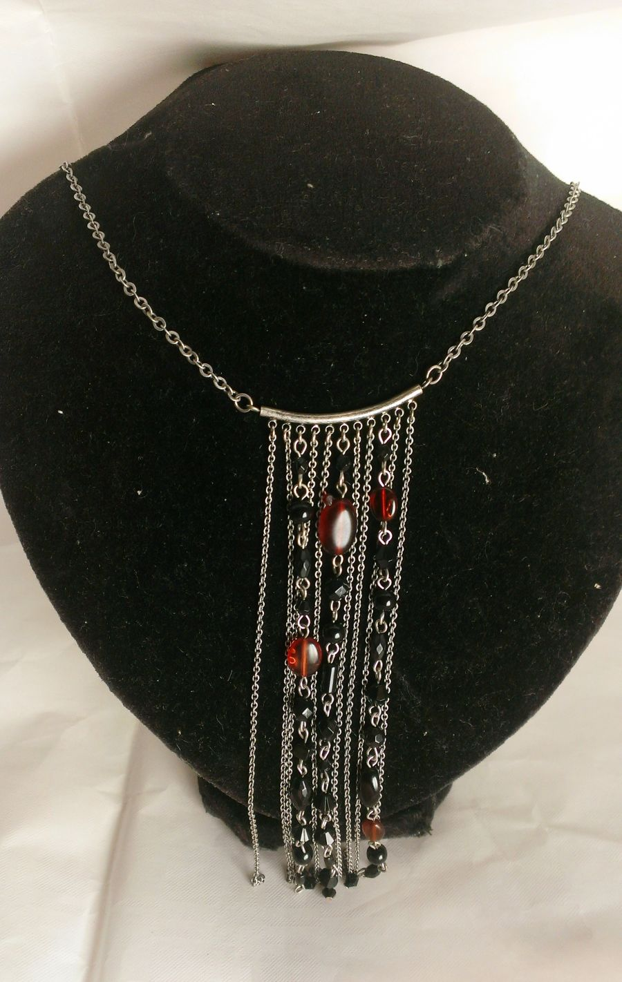 Beaded Ornate Chain Drop Necklace