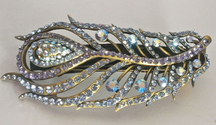 Crystal Peacock Feather Hair Barrette