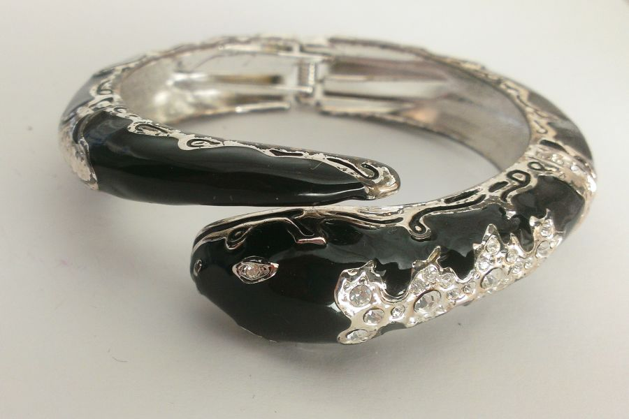 Black Crystal Snake Bangle Bracelet