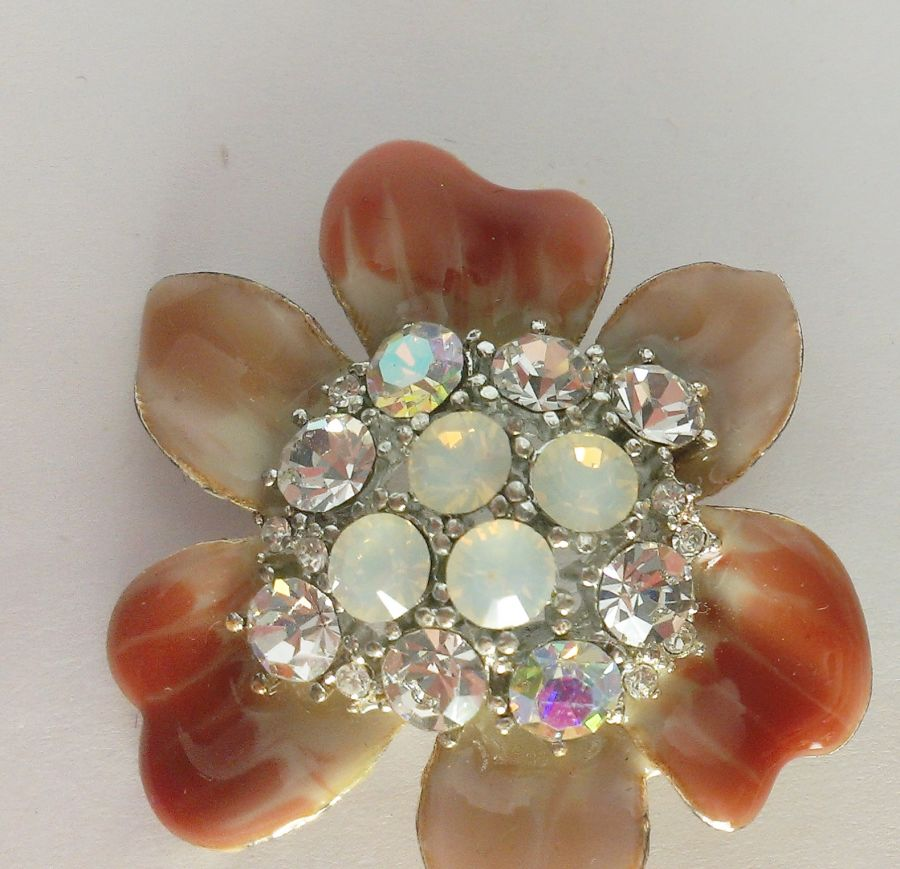 Retro Crystal Enameled Flower Brooch Choose different colours