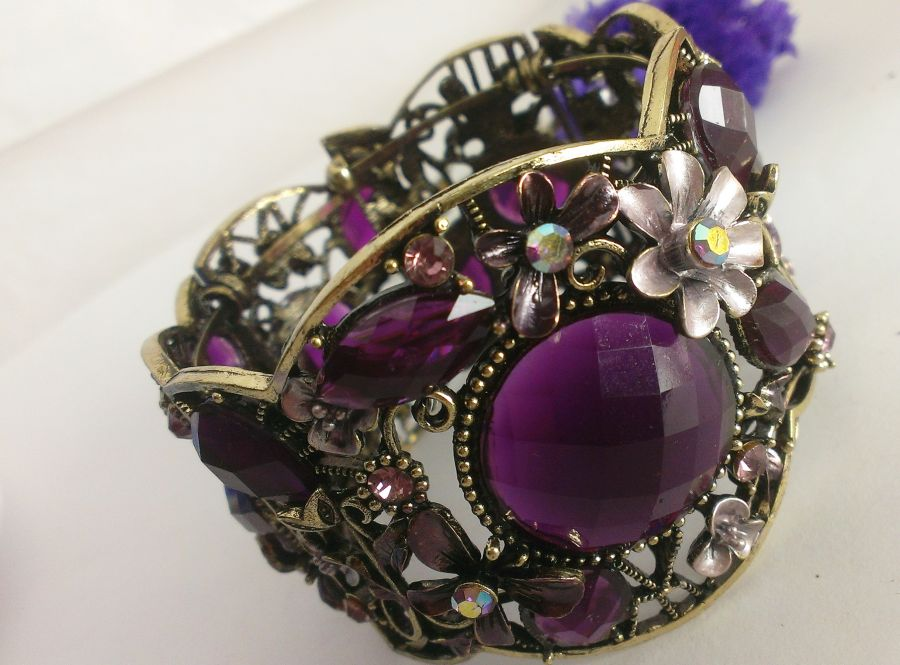 Boho Purple Floral Enameled Crystal Cuff