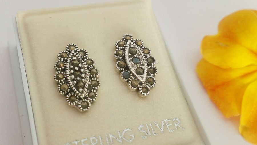 Marcasite and Sterling Silver Stud Earrings