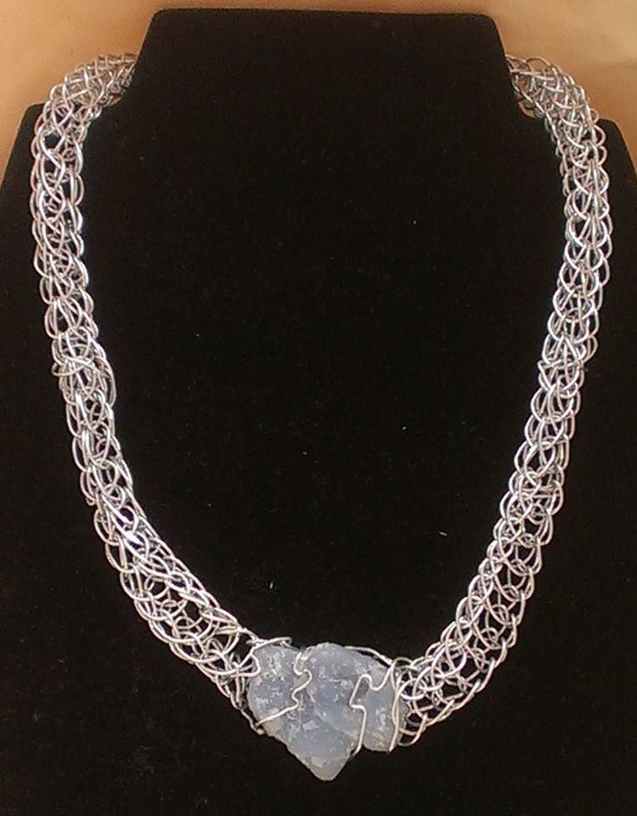 Angelite Viking Knit Necklace