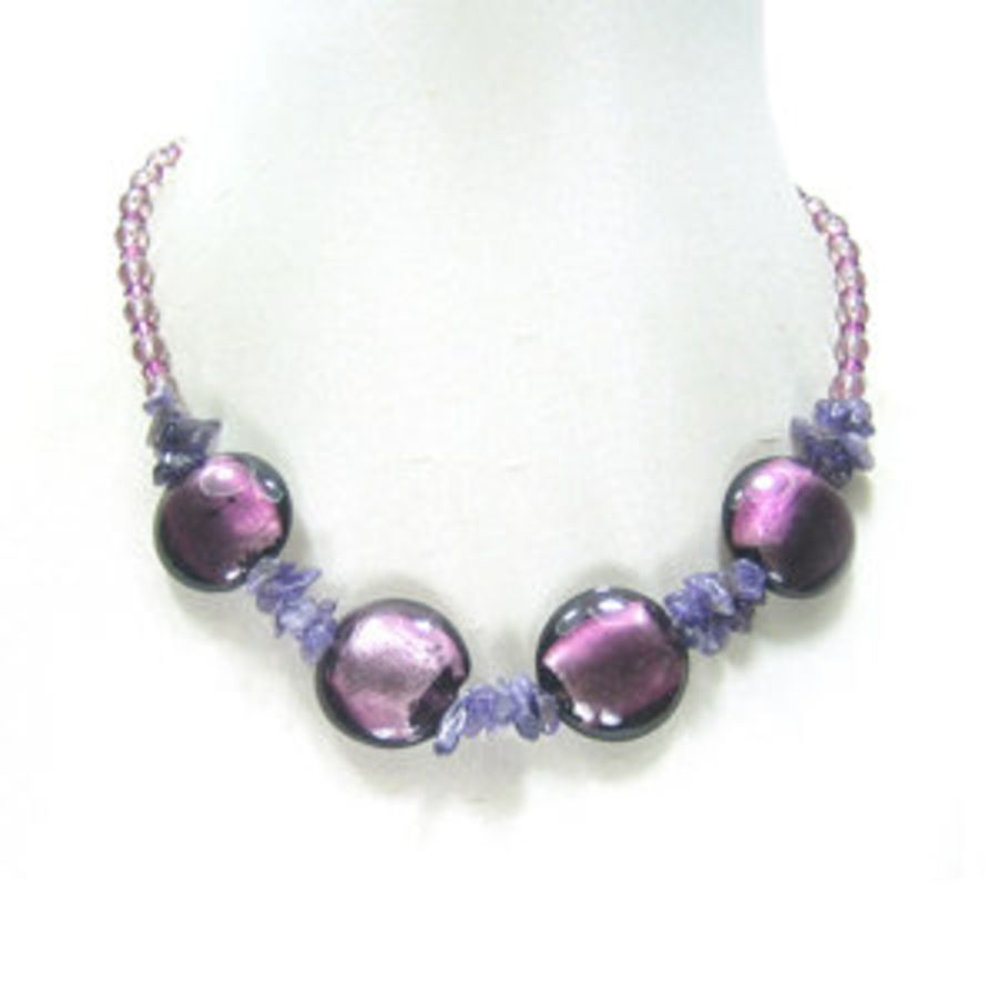 Amethyst and Silver Foil Beaded Necklace
