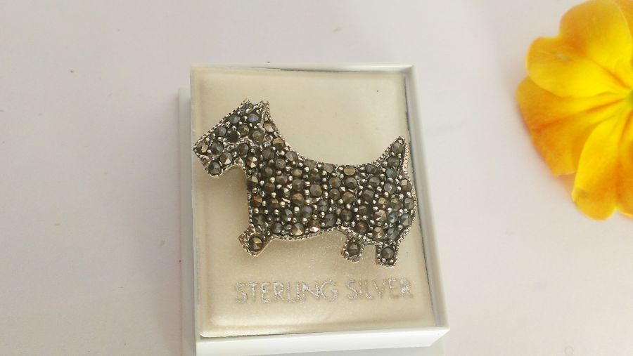 Sterling Silver Marcasite Scotty Dog Brooch