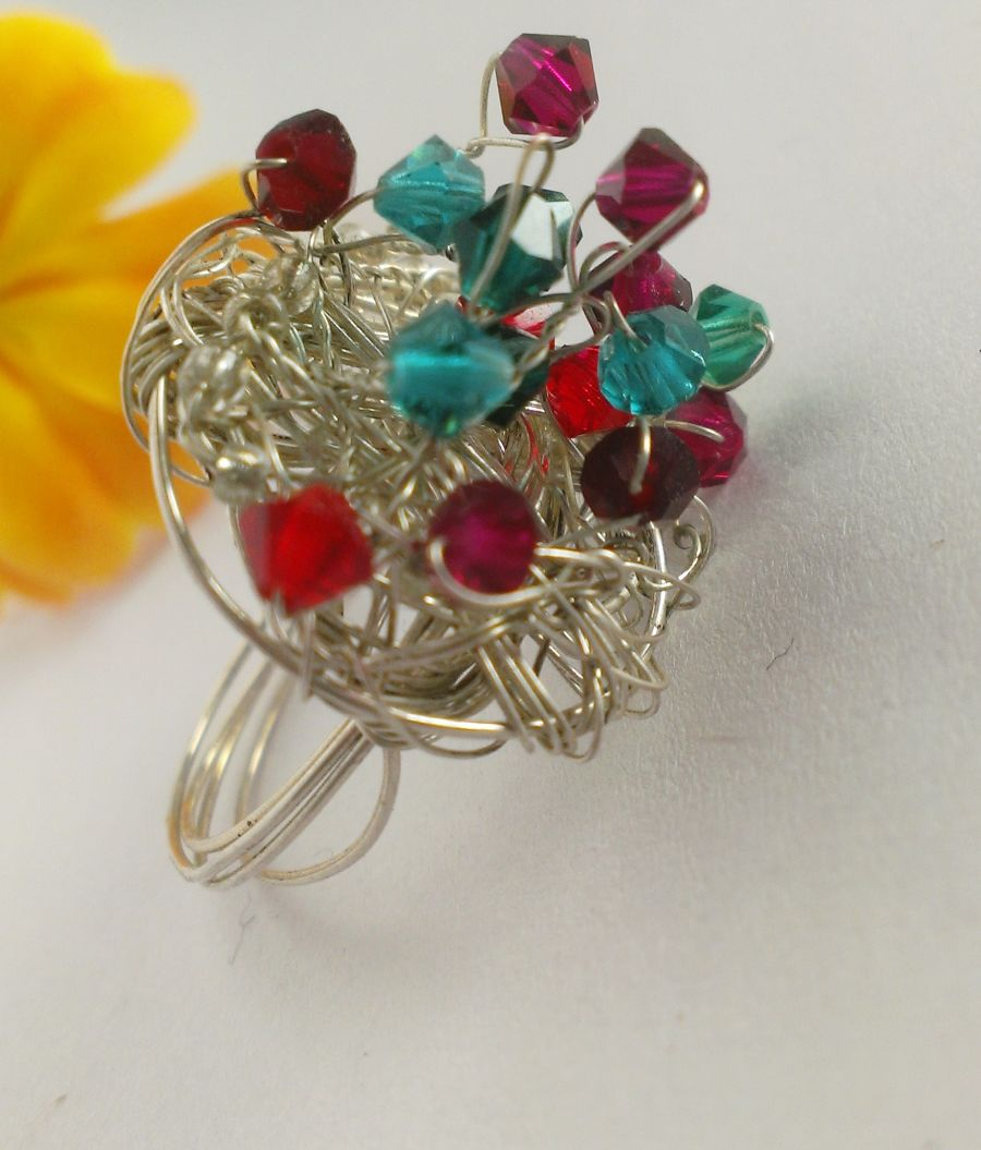 Wire work glass crystal ring size Q