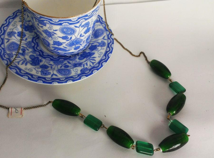 Emerald Green Glass beaded necklace