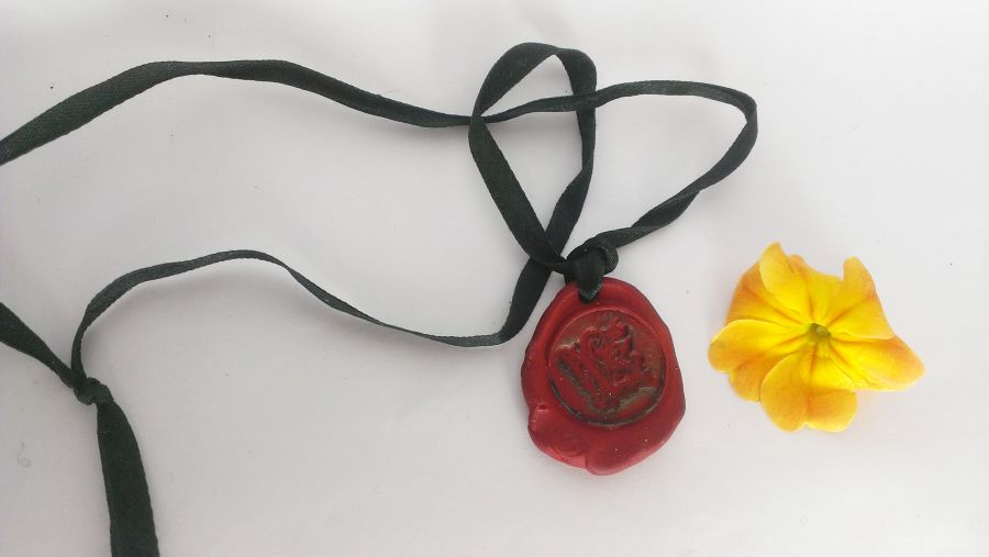 Faux Wax Seal Pendant with the letter L