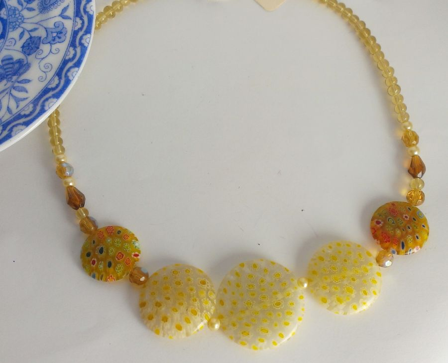 millefiori glass beaded sunny necklace