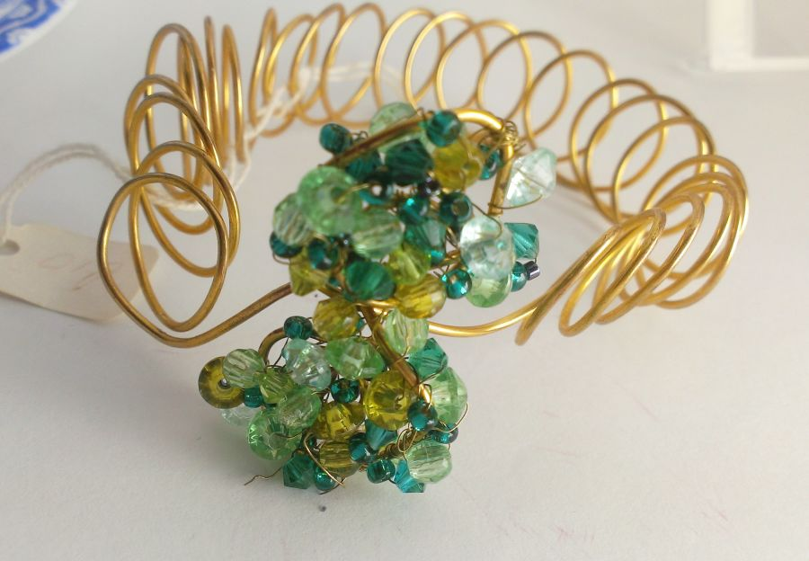 Coil Green Crystal Bracelet Cuff