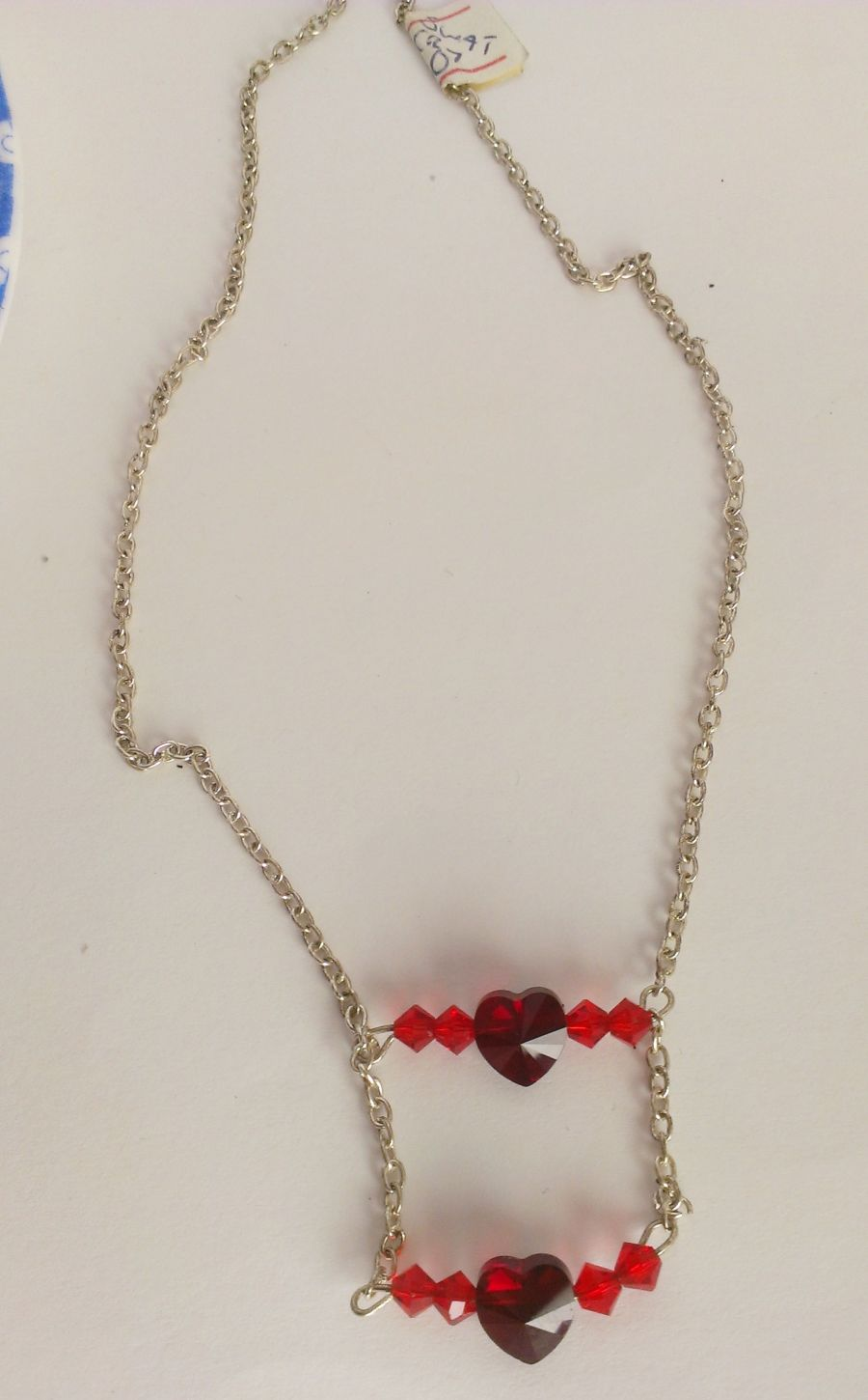 Double Crystal Red Heart Pendant