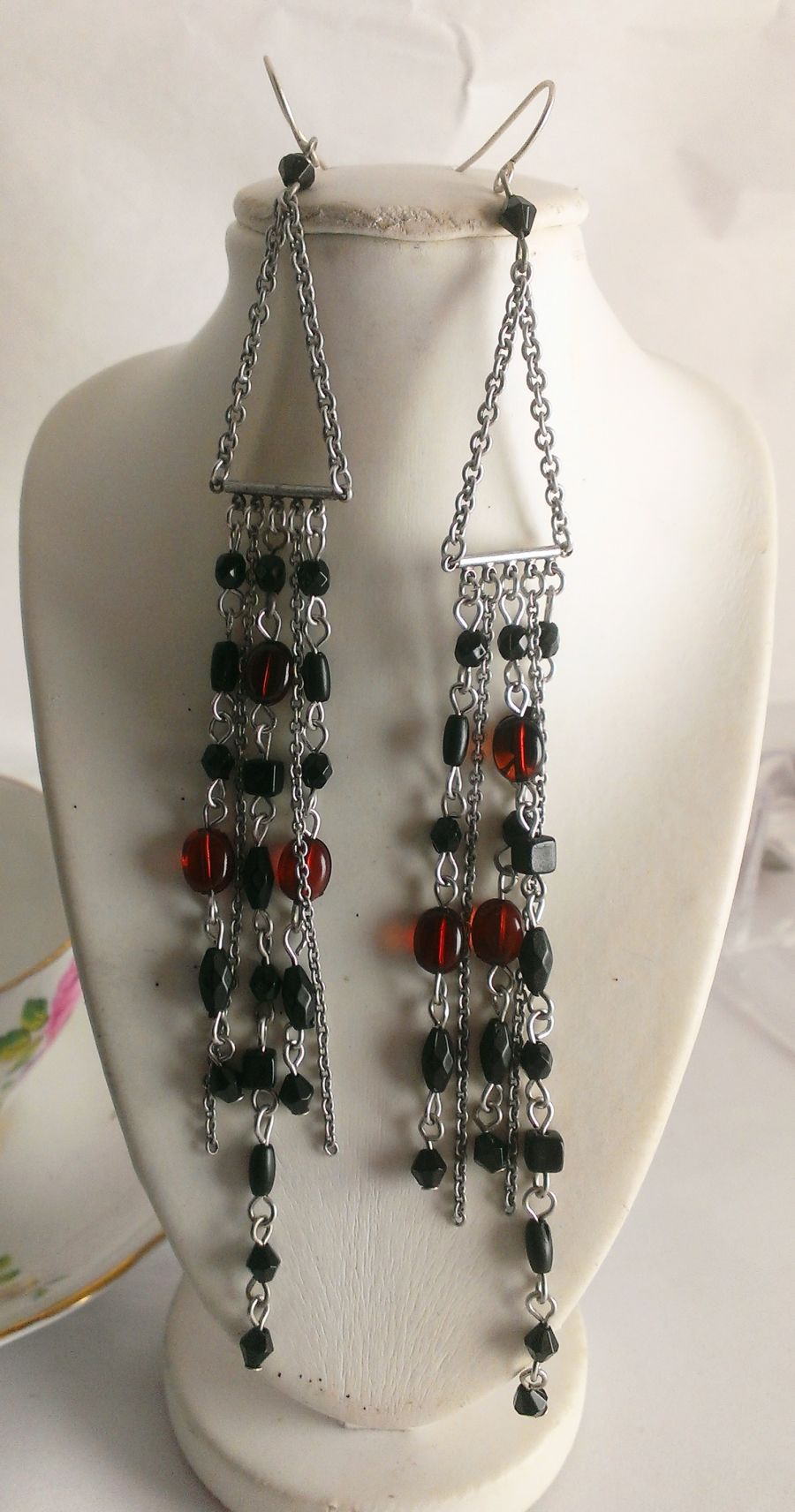 Boho multi chain beaded ethnic drop earrings