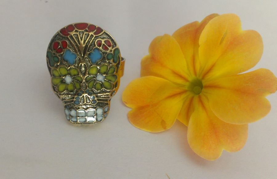 Sugar Skull Ring Adjustable