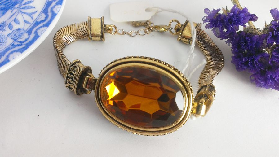 Statement Faux Amber Faceted Bracelet