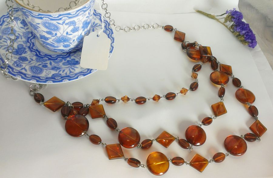 Faux Amber Boho Necklace