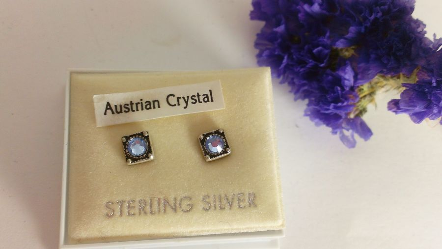 Austrian Crystal Sterling Silver Studs