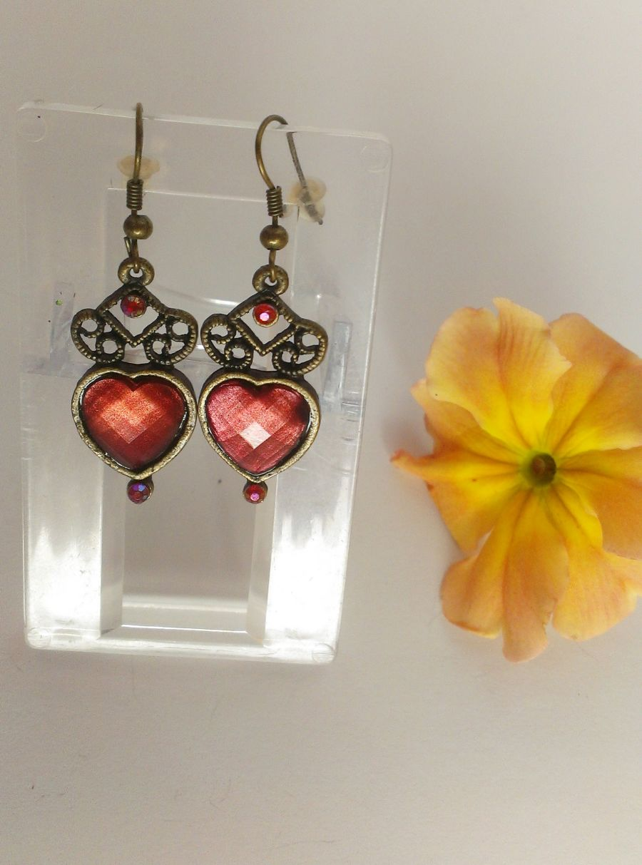 Gothic Drop Heart Earrings Choice of red/brown/purple
