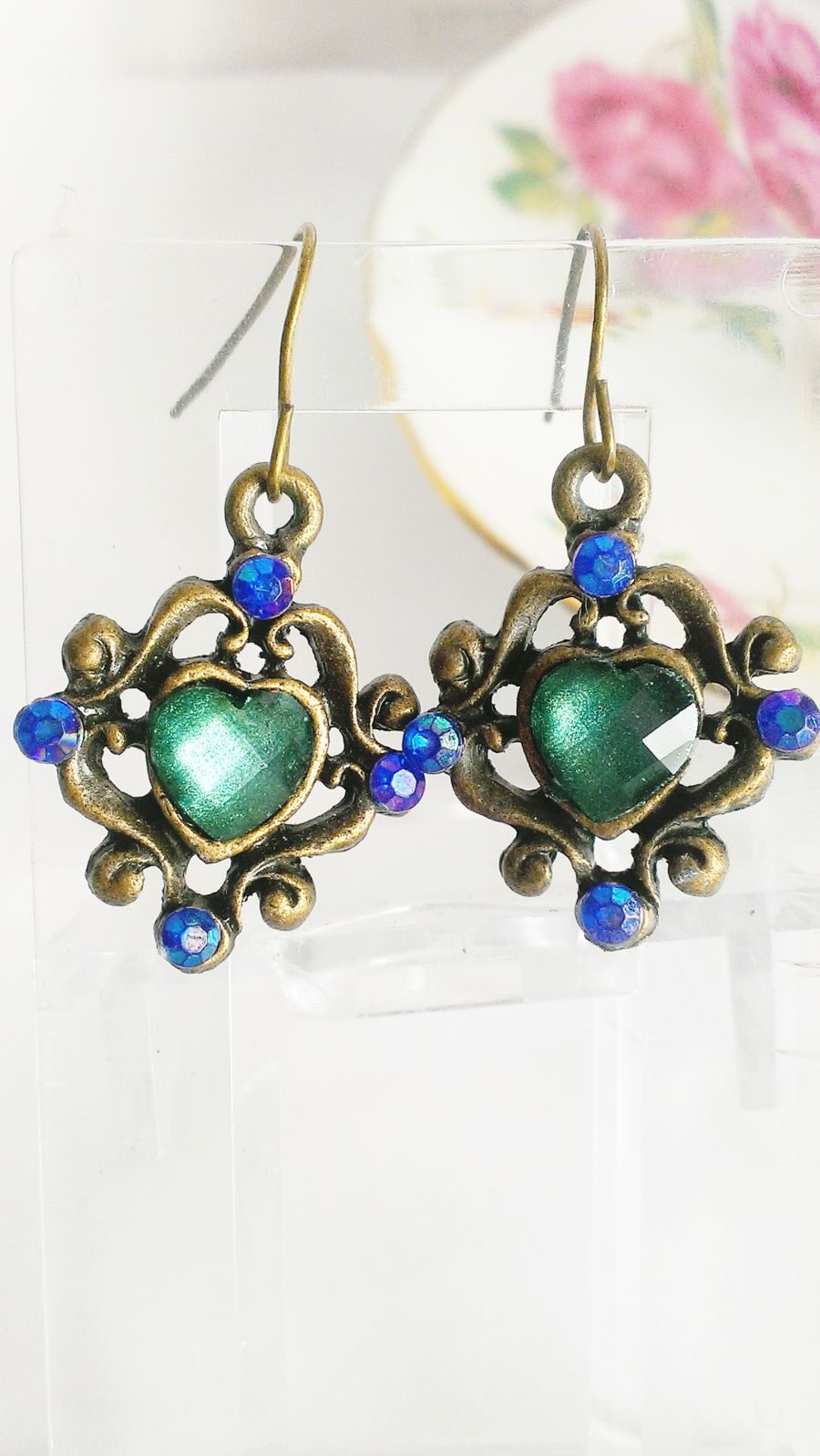 Antique Vibe Green Heart Blue Crystal Drop Earrings