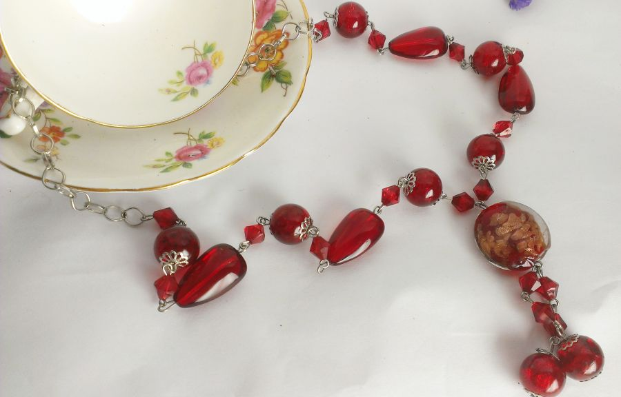 Red Long Boho Beaded Necklace