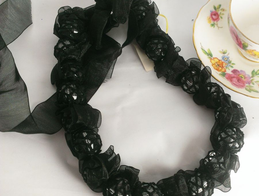 Gothic Black Organza Beaded Necklace