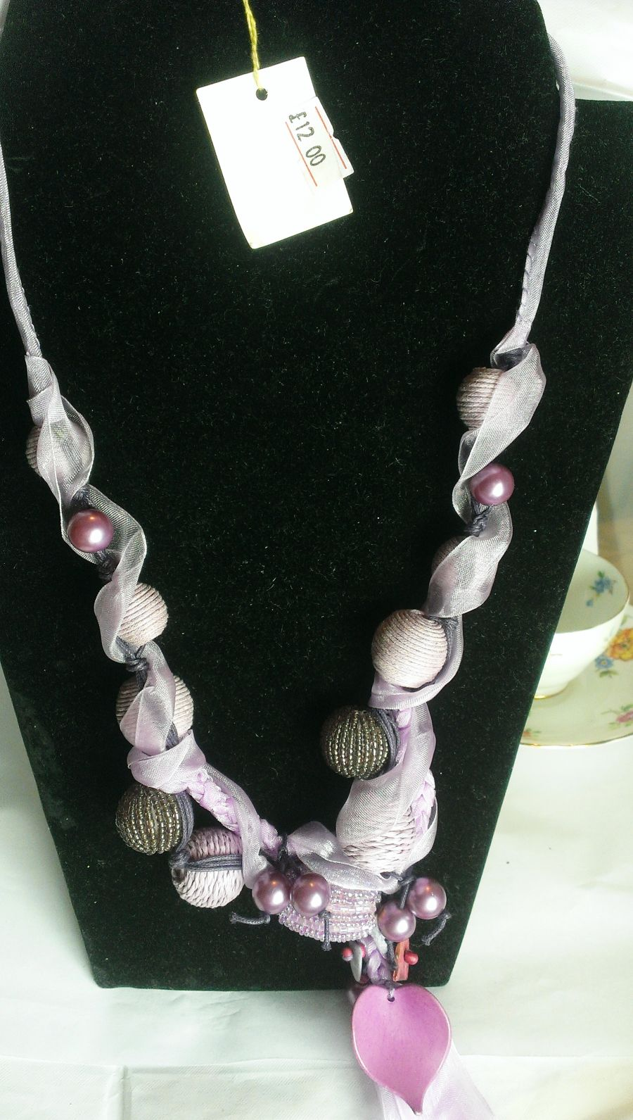 Lilac Beaded Wood and Faux luster pearl necklace