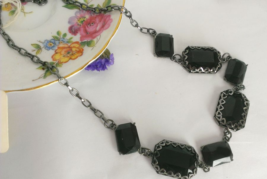 Black Victorian Gothic Look Necklace
