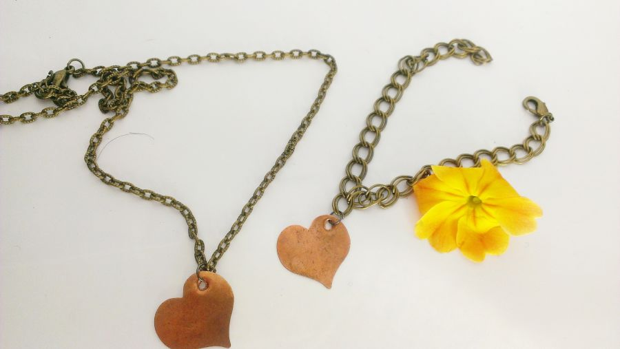 Copper Heart Tag Bracelet and Pendant Set