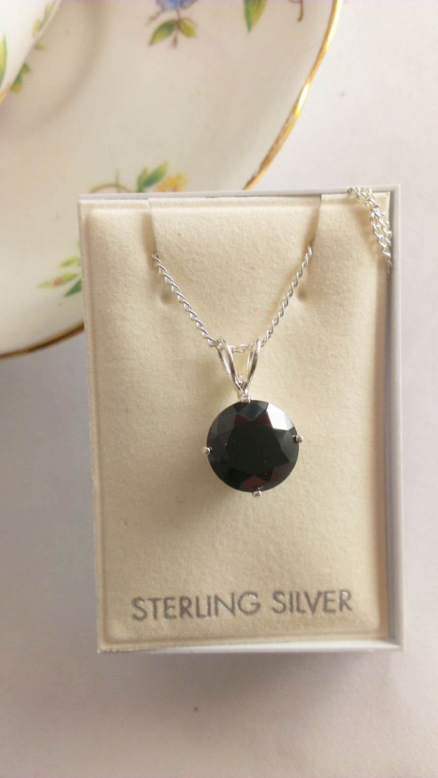 Sterling Silver Faceted Black Pendant