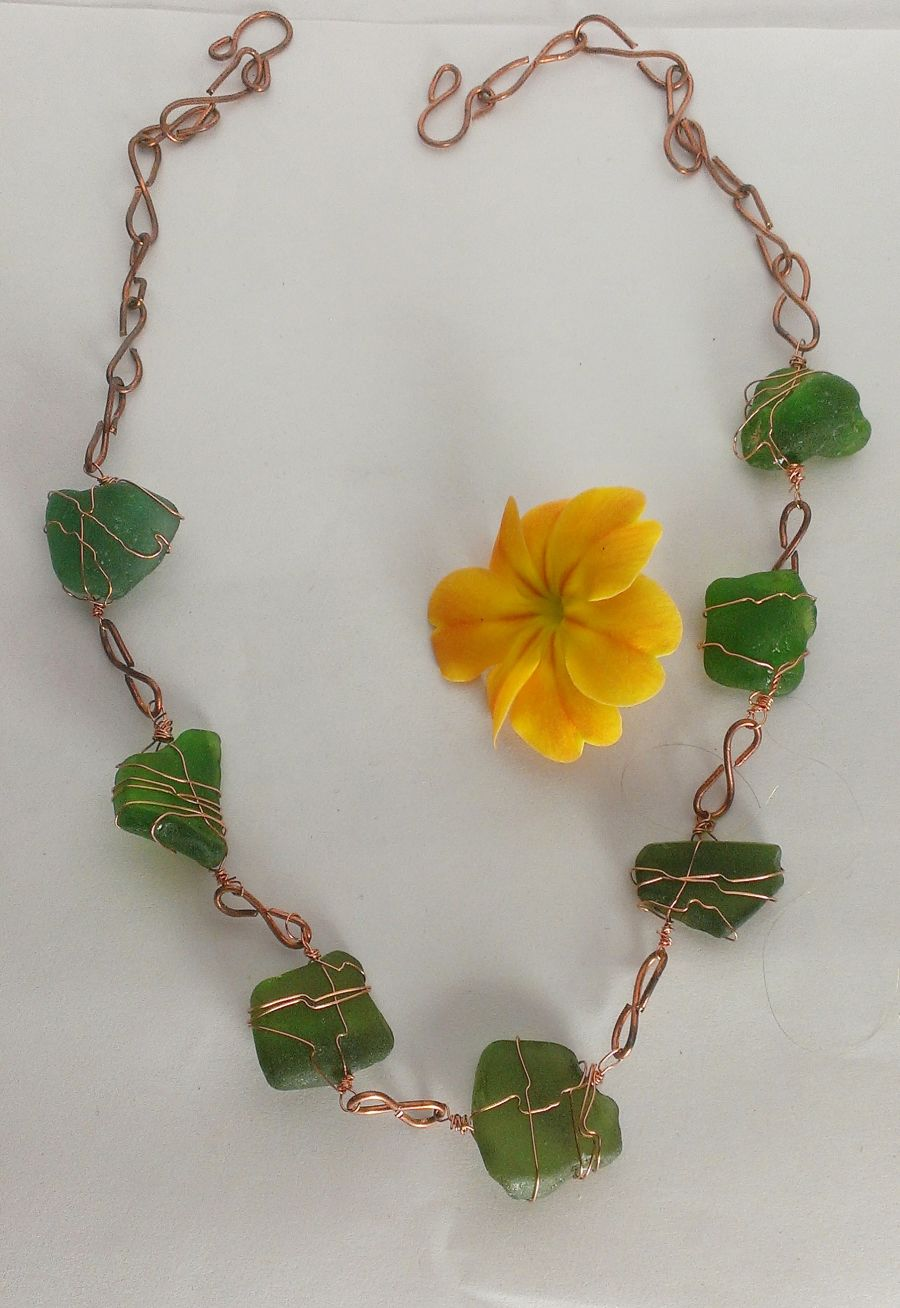 Green Sea Glass From the English Coast And Copper Wire Wrap Necklace,